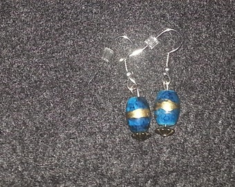 Turquoise with gold stripe Earring Set