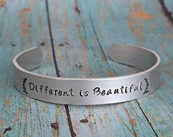 Different is Beautiful - Bracelet  - Motivational Jewelry - Cuff Bracelet - Hand Stamped - Bracelet- Gift for Her