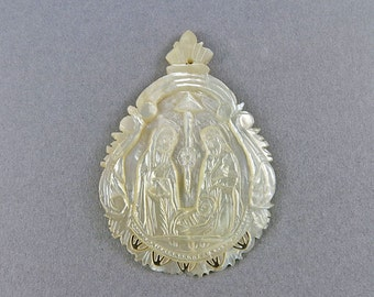 Vintage Pendant Carved Mother Of Pearl Pendant Religious Jewelry Christmas Jewelry Vintage Collectibles