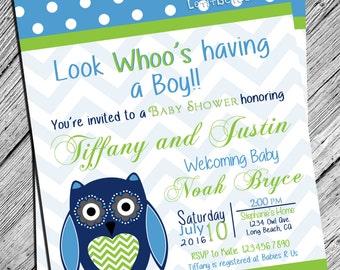 Owl Baby Shower Boy Baby Shower Digital Invite Polka Dot and Chevron Print