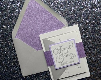 Lavender Glitter & Gray Wedding Invitation, Calligraphy Invitation, Gray Invitation - Deposit to Get Started
