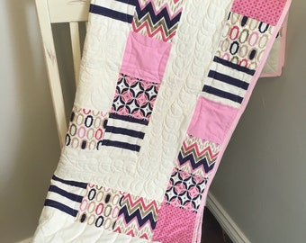 Modern Baby Girl Quilt // Baby Girl Crib Quilt // Purple, Pink, Gold Baby Quilt