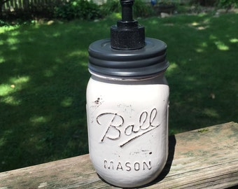 Cream with Dark Metal Lid Pump Hand Painted Mason Jar Soap Dispenser -Housewarming Gift - Wedding Shower Gift - Soap Dispenser - Shabby Chic