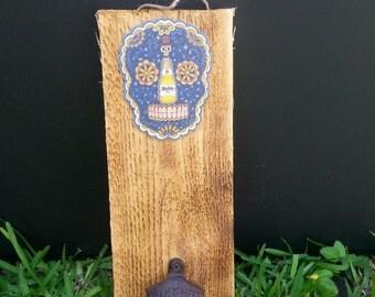 Sugar Skull Day of the Dead Ceramic Wood Cast Iron bottle opener