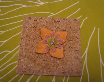 Handmade Paper Flower Embellishment - Olive and Rose