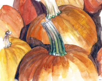 "Pumpkin Painting - Print from Original Watercolor Painting,""Pumpkin Patch"", Fall Decor, Orange Pumpkin, Halloween"