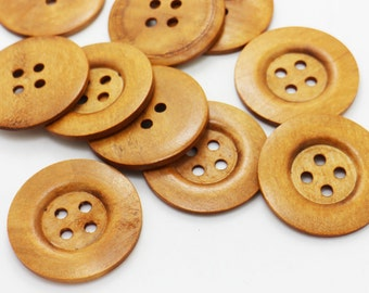 5 Extra Large Brown Wooden Button, Coat Button, Decorative Button, Huge Four Holes Wide Edge Button, Natural Wood Button, Beige, 50mm