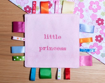 PartyBits2008 - Personalised, Taggy Blanket, Toddler, Baby, Soother, PINK FLOWERS