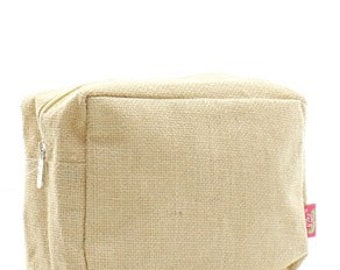 Jute Large Cosmetic Travel Pouch WITH FREE MONOGRAM
