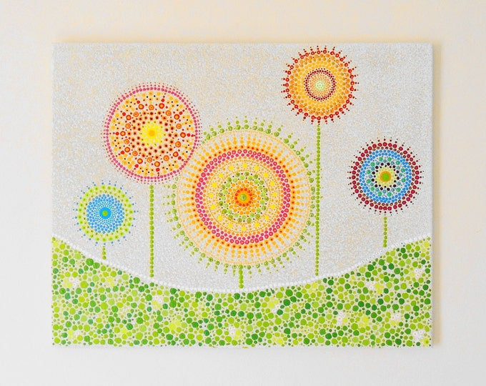 Mandala canvas art. Indigenous Wall painting. Summer flowers hanging art. Hippy dot art. Home decor. Ethnic painting. Gift ideas handmade.