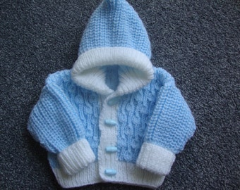 Baby Hooded Jacket -  Knitted Baby Coat - Hooded Coat - Baby Hoodie - Knitted Cardigan - Baby Cardigan - Hooded Jacket