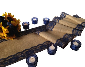 """Burlap and NAVY/DARK BLUE Lace Table Runner - Rustic Wedding Table Runner - 12"""" Width; Lace on Edges - Country Home Decor, Farmhouse Decor"""