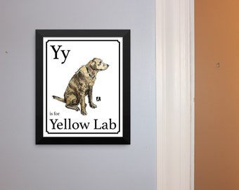 "Alphabet Cards - ""Y"" is for Yellow Lab or ""D"" is for Dog - Unframed Hand Drawn Pen & Ink Sketch With Watercolor Print of Yellow Lab Dog"