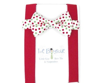 Christmas Bow Tie and Suspenders, Red and Green Polka Dot Bow Tie, Red Suspenders, Toddler Suspenders, Boys, Kids, Baby, Child, Photo Prop