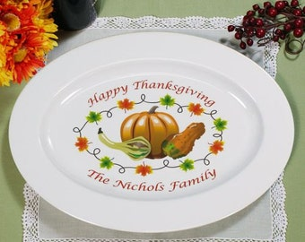 Personalized Thanksgiving Platter, Thanksgiving Plate