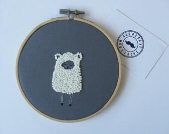 Lamb embroidery hoop