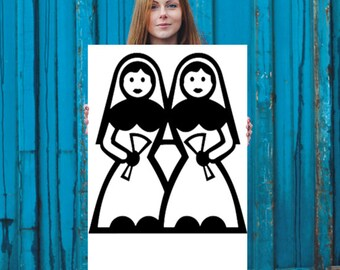 "Gay Marriage Poster 24x36"" Lesbians"