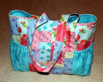 Large Tote Bag with Side Pockets - Patchwork with Teal