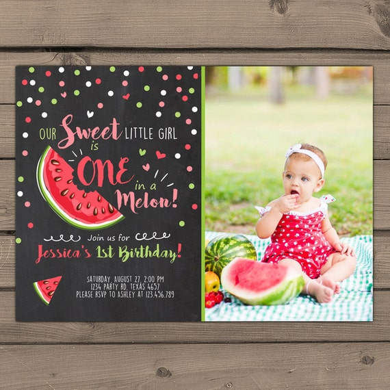 Watermelon Birthday Invitation One In A Melon First Birthday