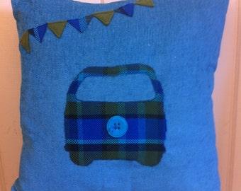 Westy camper - applique vw cushion made with chenille original westfalia fabric