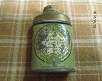 "Vintage 1900's Cashmere Bouquet Tiny Powder Tin Canister Container 2"" tall"