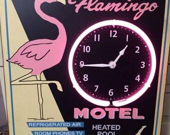 Neon flamingo clock