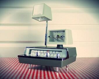 Vintage NEW-IN-BOX 1960s Juliette Mid Century lamp, Radio, clock, Stunning & Working!
