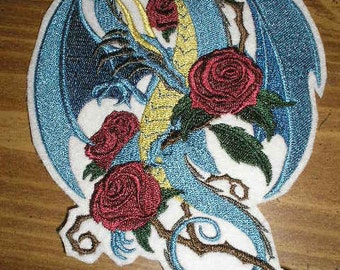 Embroidered Patch / applique - dragon and roses - sew or glue on 2 sizes available