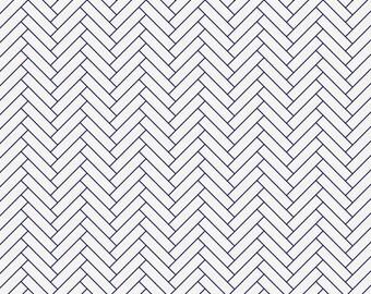 White and Navy Classic Herringbone Organic Fabric - By The Yard - Girl / Boy / Neutral