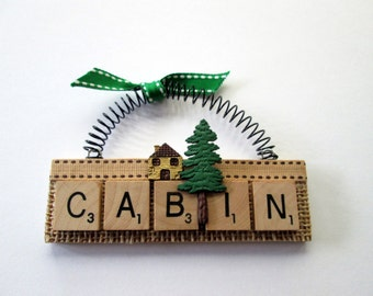 Cabin Camp Lake Scrabble Tile Ornaments