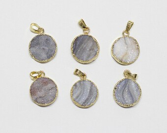 Wholesale Round Druzy Pendants -- Drusy Geode Handmade Craft Charm YHA-028
