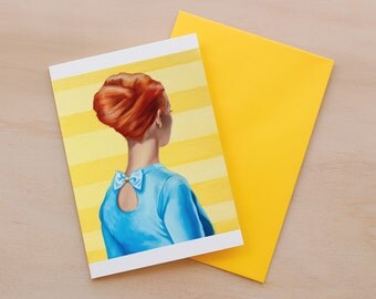 Blue, Fashion Illustration, Card, Greeting Card, High Fashion, Mini Art Print, Stripes, 60's, African American, Print, Redhead, Mid Century
