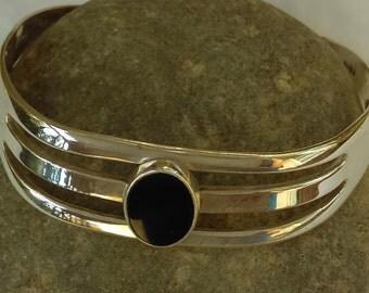 Vintage Mexico sterling silver, black onyx cuff bracelet