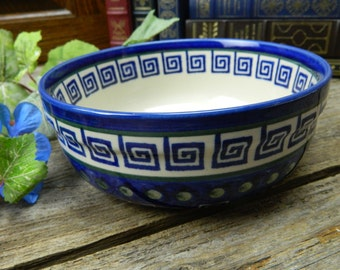 "Vintage Polish Pottery 7"" Serving Bowl - Boleslawiec - Greek Key Design"