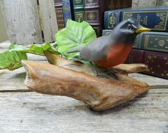 Vintage Folk Art Hand Carved Robin Standing on Driftwood