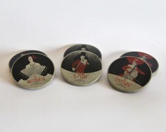 """Set of 6 coasters """"El Tarot de Tango""""."""