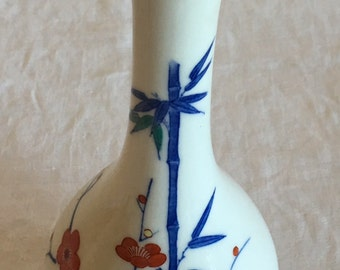 Vintage Japanese White Porcelain Long Neck Bottle Vase Hand Painted Flowers