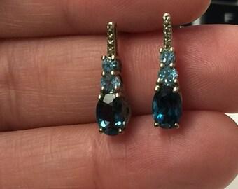 Sterling Silver London Blue Topaz and Topaz Pierced Dangle Earrings