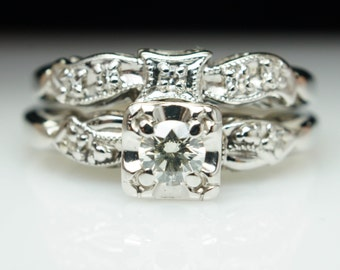 Stunning Delicate Engagement Ring 1940s Art Deco Ring Vintage Intricate Wedding Ring Unique Diamond Ring White Gold Art Deco Antique Ring