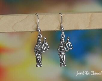 Sterling Silver Lady Justice Earrings Fishhook Earwires Solid .925