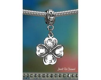 Sterling Silver Dogwood Charm or European Style Charm Bracelet .925