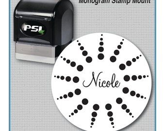Starburst Personalized Pre-Inked Stamp, Name Stamp, Wedding Stamp, Library Stamp | MS-R38