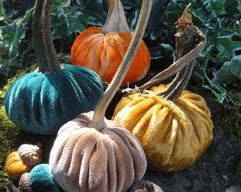 Handmade Plush Autumn Harvest velvet pumpkins with real dried stems. 4 Fall colors,gold, pumpkin orange, camel brown and forest green.