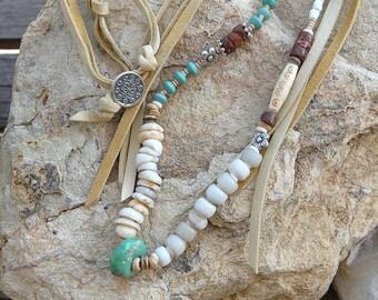 Southwestern style boho long necklace with buckskin lace and beads