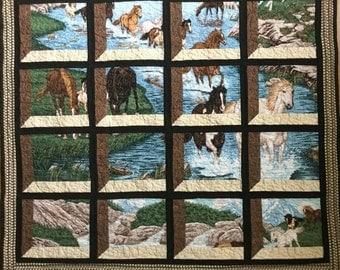 Clearance Sale!  Quilt Wild Horses Shadowbox handmade patchwork quilt reg 165.00 now 115.50
