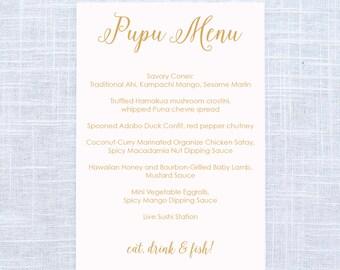 Blush and Gold Pupu Appetizer Wedding Menu / Simple Menu / #407