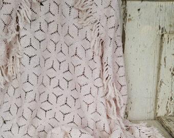 Vintage Beige Hexagon Crochet Tablecloth