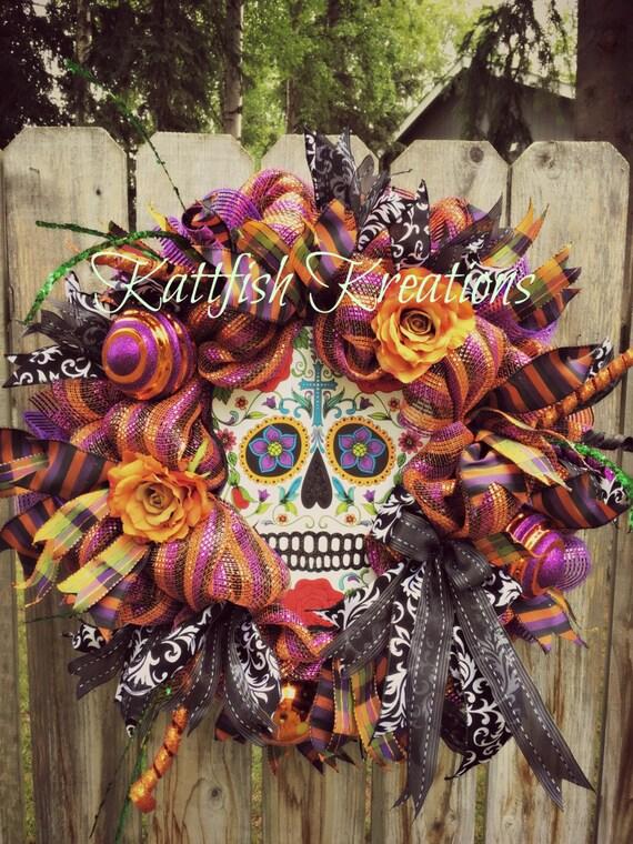 Price reduced sugar skull wreath day of the dead wreath dia de los