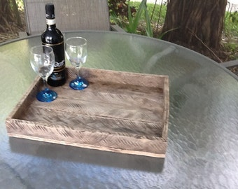 Wood tray...reclaimed pallet wood. Ottoman tray upcycled.minimal design
