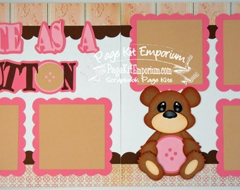 Scrapbook Page Kit Cute As A Button Baby Girl 2 page Scrapbook Layout 87